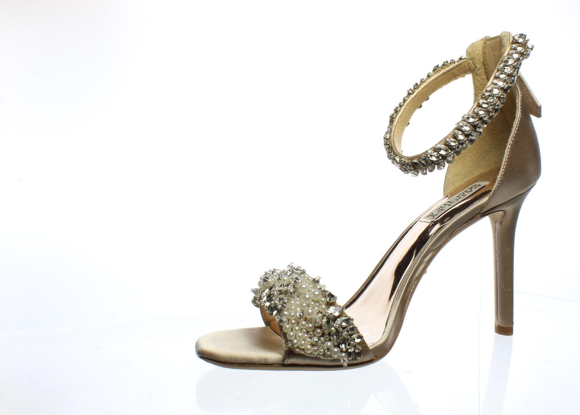Badgley Mischka Womens Roxy Nude Ankle Strap Heels Size 8