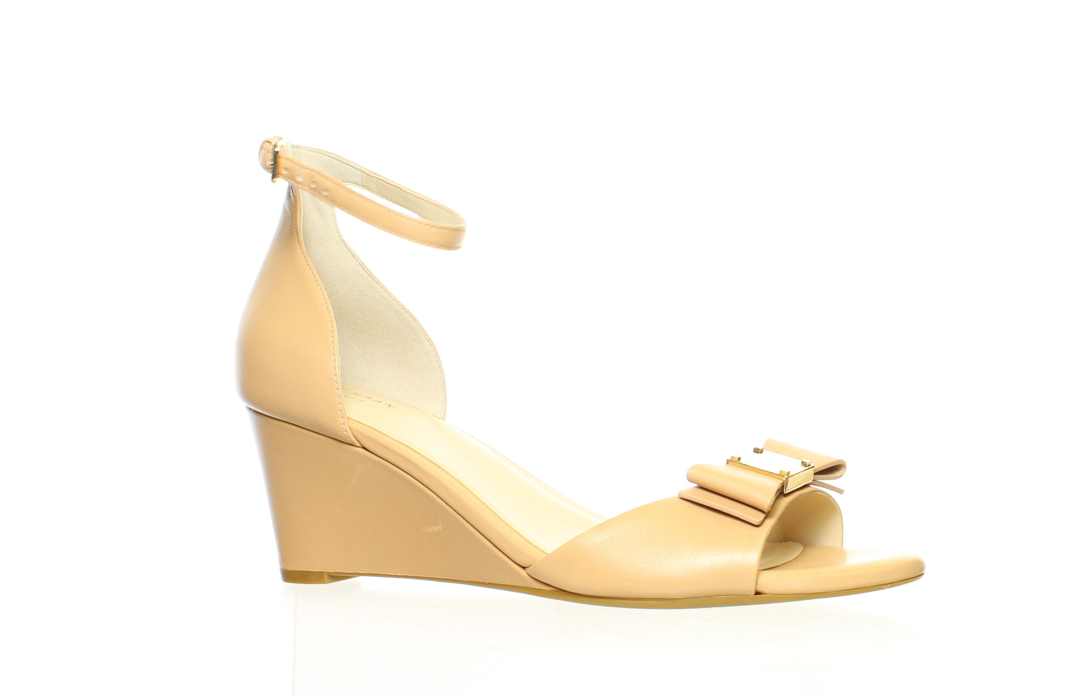 Cole Haan Womens Tali Soft Bow Ch Nude Leather Pumps Size