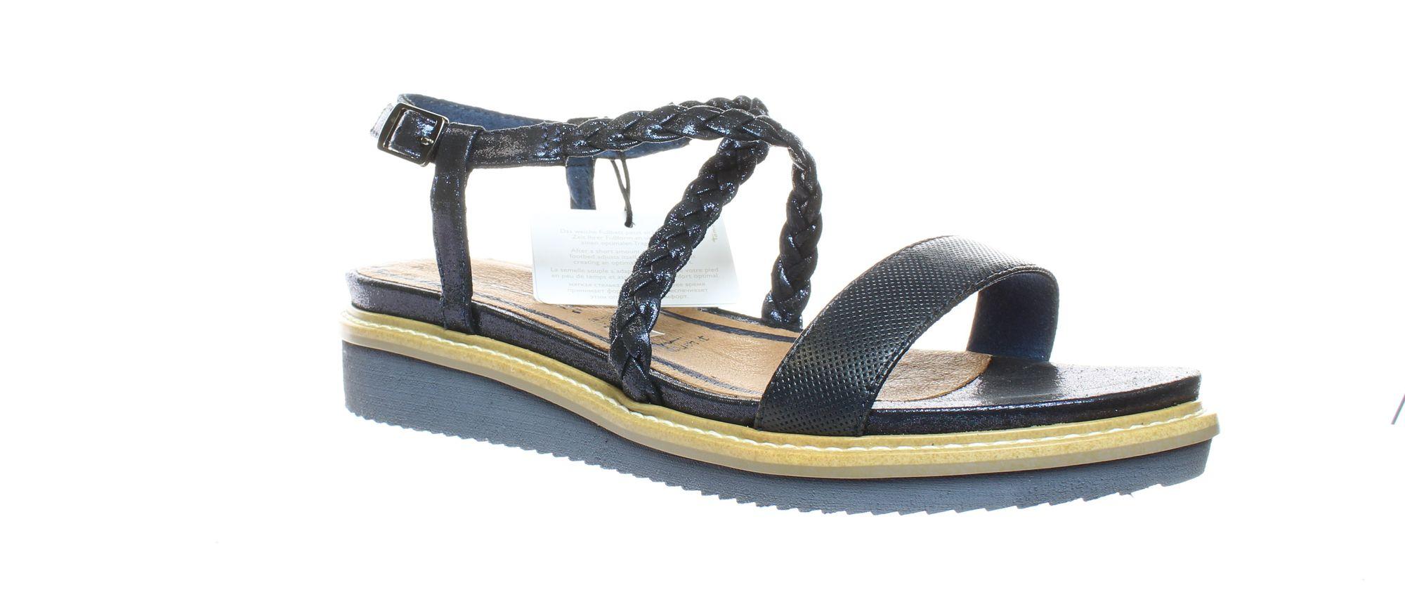 Tamaris Womens 28206 Leather Open Toe Casual Platform Sandals