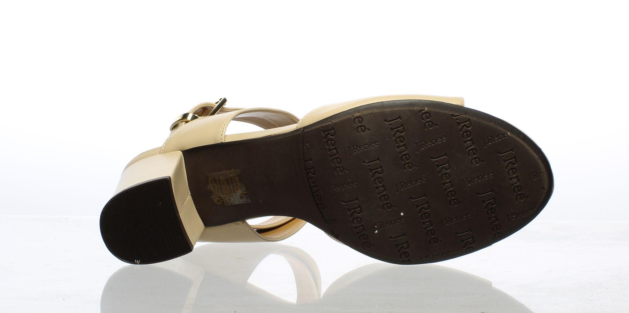 J. Renee Womens Blandina Nude Leather Ankle Strap Heels