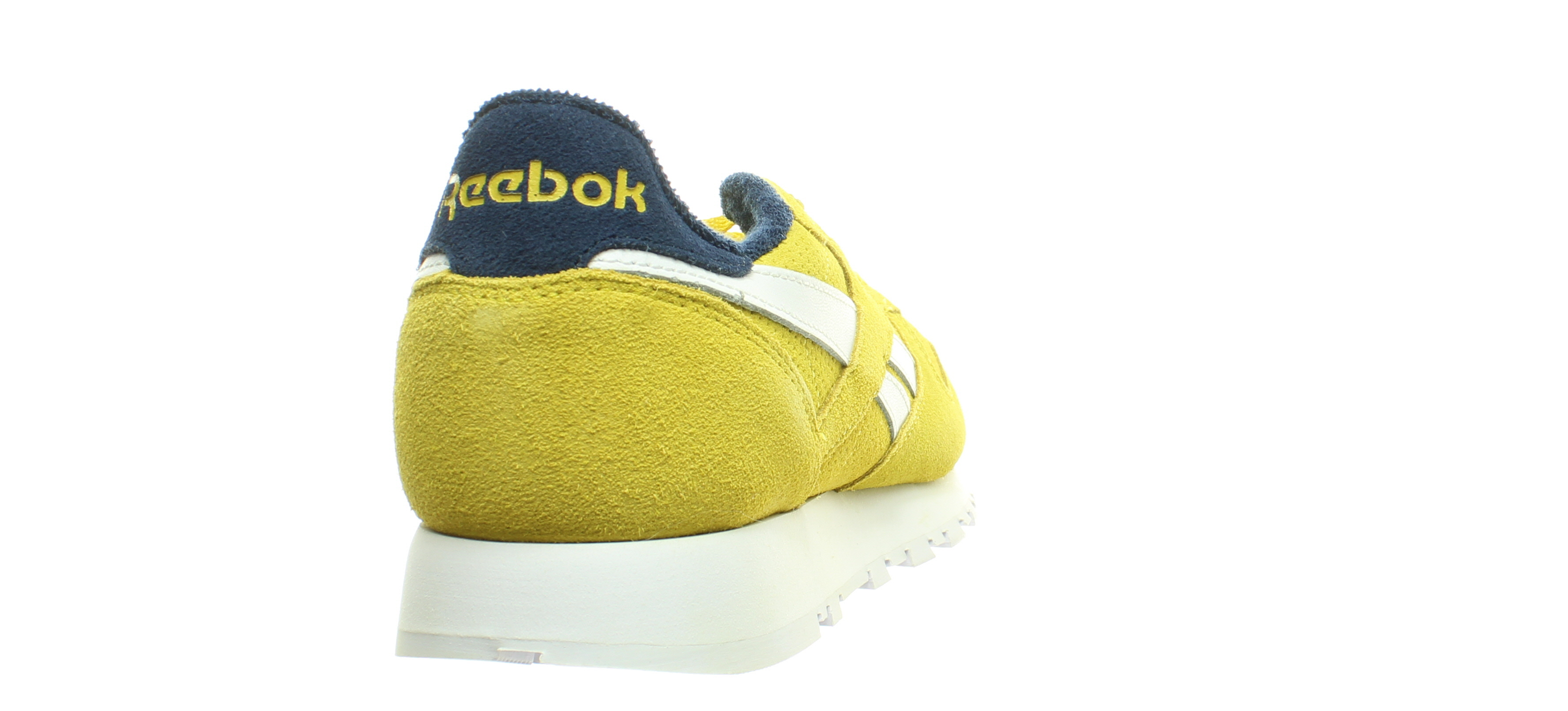 Reebok Mens Classic Leather Urban Yellow//Collegiate Navy Running Shoes Size 7.5